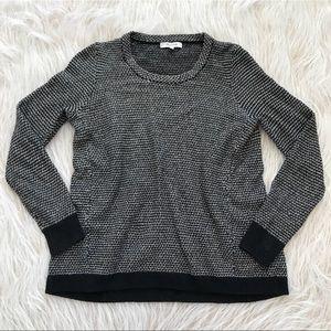 Madewell riverside knit sweater black white crew